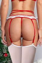 3st Röd plysch Bow Garter Belt Set