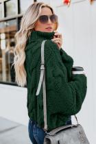 Зеленый вязаный свитер с высоким воротом ручной работы Cuddle Weather Cable