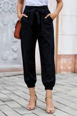 Zwarte effen kleur japon-stijl broek met riem