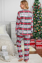 Red Shirt Collar Plaid Button Down Christmas Pajama Set