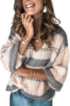 Серый вязаный пуловер с рукавами-фонариками и V-образным вырезом