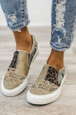 Khaki Snake Leopard Mixed Print Slip-on Canvas