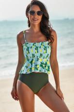 Grønn sitronprint Peplum Bikini