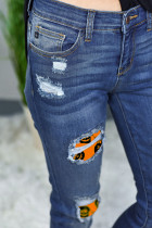 Halloween Print Patch Jeans Skinny Destroyed
