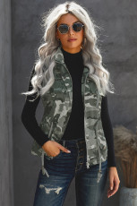 Camouflage Cinched Zipper Snaps Hooded Vest