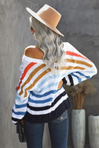 Sweater Rajut Leher V Dikepang Multicolor Stripe Bubblegum