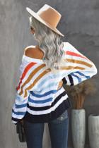 Плетеный вязаный свитер с V-образным вырезом и разноцветной полосой Bubblegum