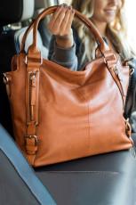 Коричневая сумка из искусственной кожи из искусственной кожи