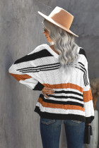 Brown Stripe Color Block Bubblegum V-Neck Braided Knit Sweater
