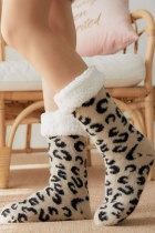 Теплые носки для сна с леопардовым принтом