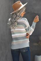 Sweater Rajut Hollow-out Kerah Bergaris Warna-warni