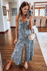Verstellbarer Overall aus blauem Leoparden