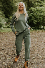 Green Embroidered Crosses Pattern Knit Sweatshirt and Joggers Set