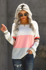 Oversized Colorblock Patchwork Long Sleeve Top