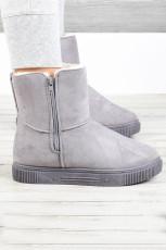 أحذية الثلج الدافئة القطيفة سستة المطاط الرمادي