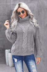 Gray Oversize Turtleneck Textured Sweater