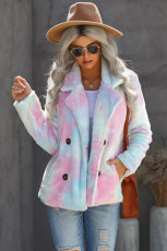 Pir-reng Tie Dye Lapel Collar Open Front Fleece Coat