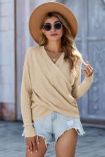 Sweater Rajut Lengan Panjang V-neck Aprikot