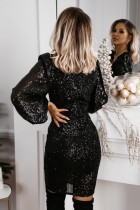 Black V Neck Balloon Sleeve Bodycon Glitter Sequin Dress