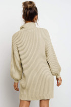 Gaun Sweater Lengan Balon Turtleneck Aprikot