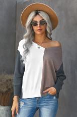 Sweater Longgar Warna V-neck Khaki