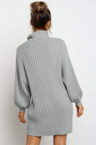 Gaun Sweater Lengan Balon Turtleneck Abu-abu