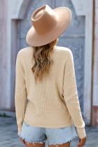 Aprikos djup v-ringad långärmad stickad tröja