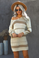Beige Color Block Kabel Strickpullover Kleid