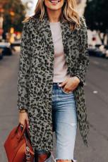Haina cu rever cu imprimeu leopard