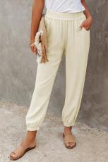 Khaki plátěné kapsy s elastickým pasem