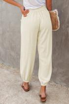 Khaki Linen Joggers Waistband Elastic Pocketed