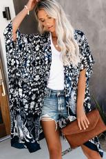 Blauer Kimono-Ärmel-Blumendruck Anmutige Vertuschung