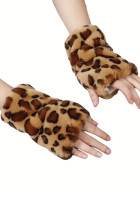 Khaki Leopard Printed Faux Fur Warm Fingerless Gloves