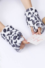 White Leopard Printed Faux Fur Warm Fingerless Gloves