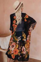 Schwarzer Kimono-Ärmel-Blumendruck Anmutige Vertuschung