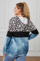 Blue Leopard Splicing Colorblock Plus Size Hoodie with Pocket