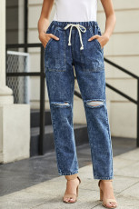 Donkerblauw Verzamel Rond Distressed Pocketed Denim Jogger
