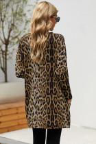Atasan Kasual Lengan Panjang Brown Leopard Print