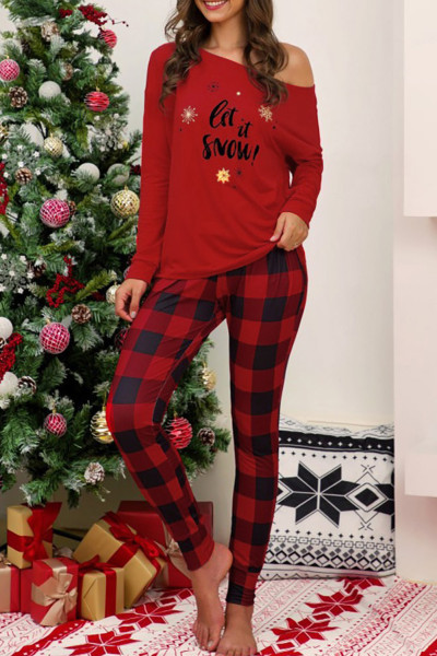 Red Christmas Letter Print Plaid Pajama Set