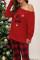 레드 크리스마스 레터 프린트 체크 무늬 파자마 세트