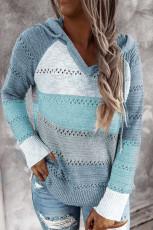 Hanorac din tricot combinat Sky Blue