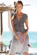 Gradient Polka Dot V-Ausschnitt Ärmelloses Strandkleid