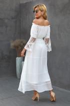 화이트 오프 숄더 자수 플레어 슬리브 레이스 맥시 드레스