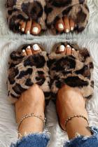 Leopard Cross Band Pluche warme platte pantoffels