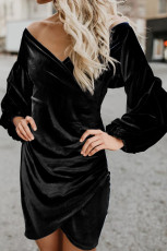 Lengan Puff Hitam Off Shoulder Wrap Dress Beludru Bodycon