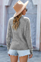 Sweater Rajut Lengan Panjang Leher V Abu-abu