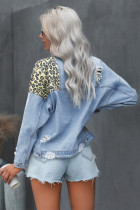 Sky Blue Leopard Splicing Cacpped Denim Jacket with Pocket