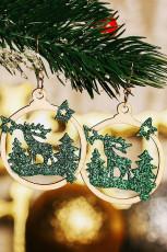 グリーンクリスマスツリートナカイスタースパンコールウッドイヤリング
