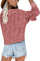 Pink Deep V-neck Long Sleeve Knit Sweater