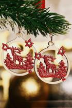 레드 크리스마스 트리 순록 스타 스팽글 나무 귀걸이